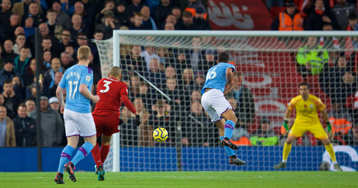 LIVERPOOL, ENGLAND - Sunday, November 10, 2019: Liverpool's Fabio Henrique Tavares 'Fabinho' scores the first goal during the FA Premier League match between Liverpool FC and Manchester City FC at Anfield. (Pic by David Rawcliffe/Propaganda)