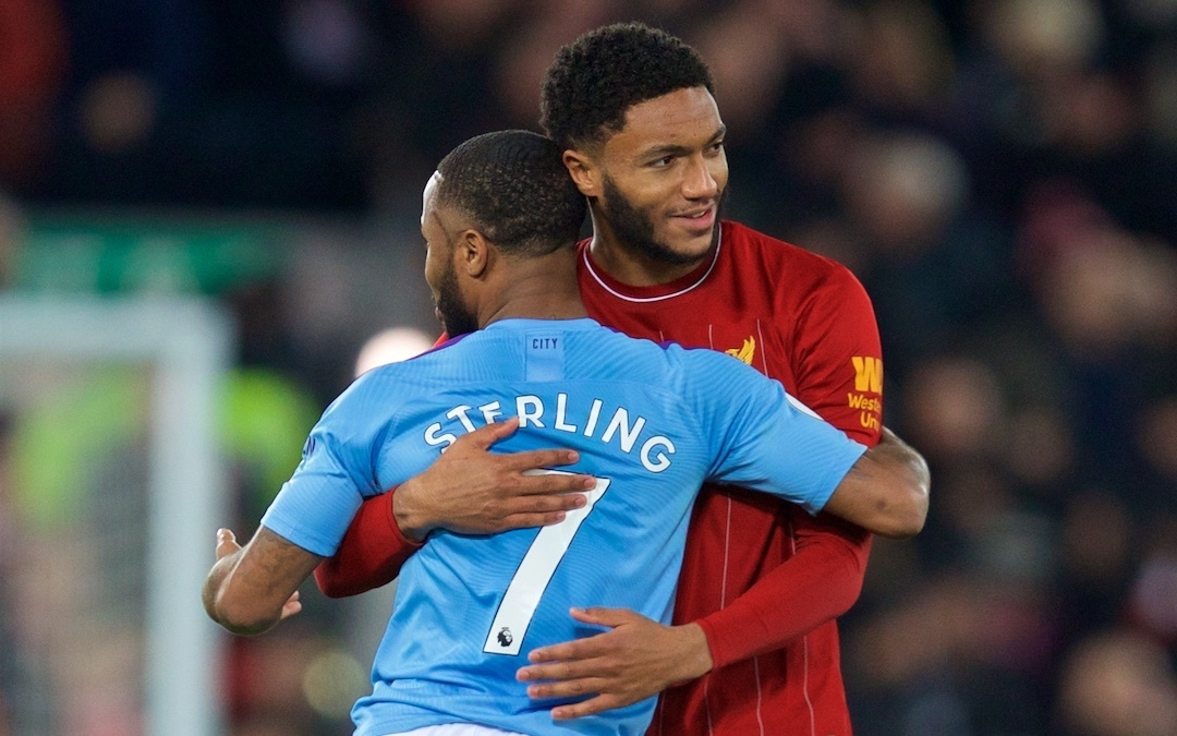 LIVERPOOL, ENGLAND - Sunday, November 10, 2019: Manchester City's Raheem Sterling (L) and Liverpool's Joe Gomez at the final whistle after the FA Premier League match between Liverpool FC and Manchester City FC at Anfield. Liverpool won 3-1. (Pic by David Rawcliffe/Propaganda)