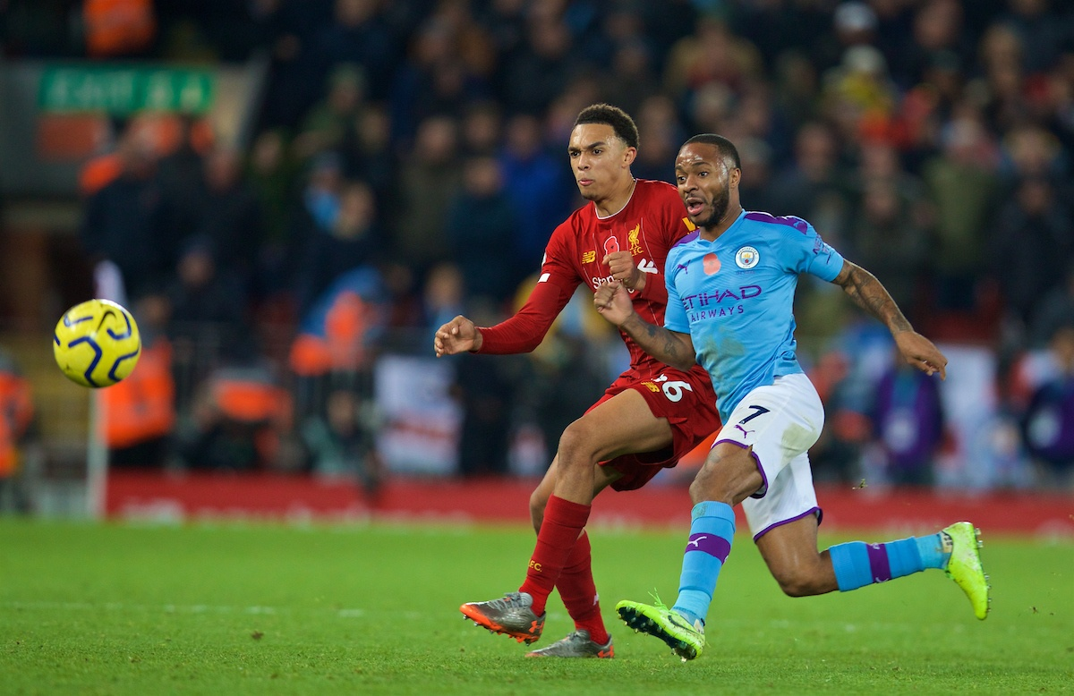 LIVERPOOL, ENGLAND - Sunday, November 10, 2019: Liverpool's Trent Alexander-Arnold (L) and Manchester City's Raheem Sterling during the FA Premier League match between Liverpool FC and Manchester City FC at Anfield. (Pic by David Rawcliffe/Propaganda)