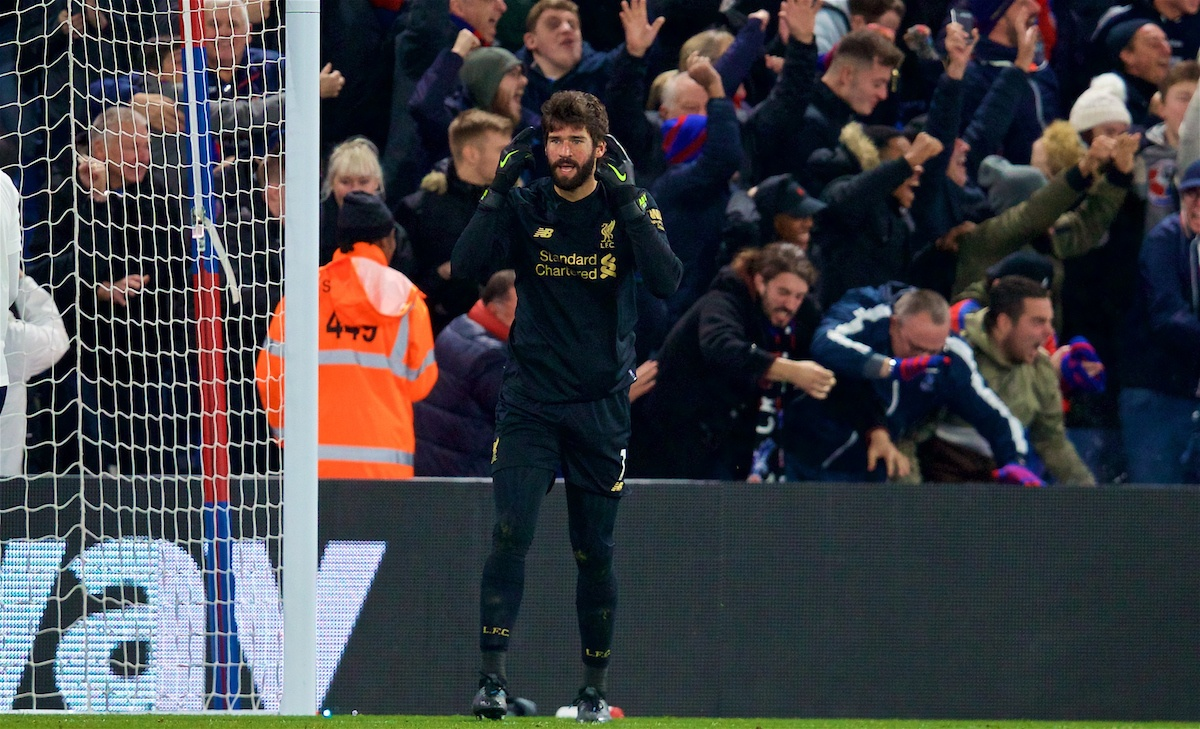 LONDON, ENGLAND - Saturday, November 23, 2019: Liverpool's goalkeeper Alisson Becker reacts after Crystal Palace score an equalising goal during the FA Premier League match between Crystal Palace and Liverpool FC at Selhurst Park. (Pic by David Rawcliffe/Propaganda)