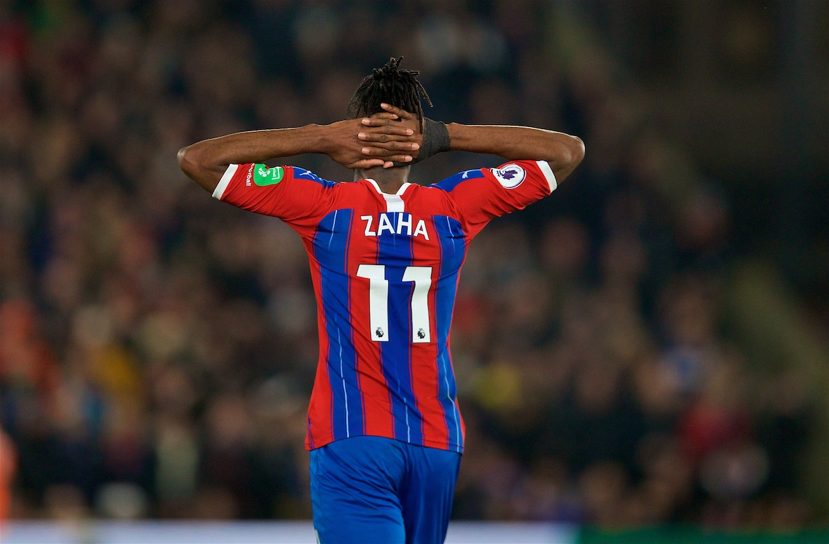 LONDON, ENGLAND - Saturday, November 23, 2019: Crystal Palace's Wilfried Zaha celebrates scoring the first goal during the FA Premier League match between Crystal Palace and Liverpool FC at Selhurst Park. (Pic by David Rawcliffe/Propaganda)