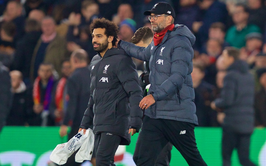 LONDON, ENGLAND - Saturday, November 23, 2019: Liverpool's manager Jürgen Klopp (R) and Mohamed Salah celebrate after the FA Premier League match between Crystal Palace and Liverpool FC at Selhurst Park. Liverpool won 2-1. (Pic by David Rawcliffe/Propaganda)