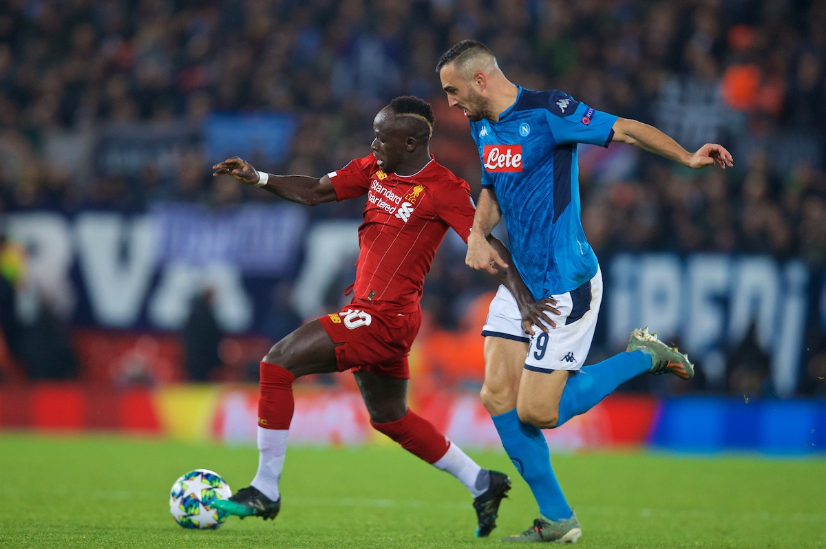 LIVERPOOL, ENGLAND - Wednesday, November 27, 2019: Liverpool's Sadio Mané is held back by SSC Napoli's Nikola Maksimović during the UEFA Champions League Group E match between Liverpool FC and SSC Napoli at Anfield. (Pic by David Rawcliffe/Propaganda)