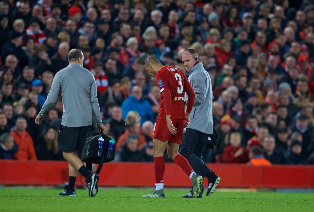 LIVERPOOL, ENGLAND - Wednesday, November 27, 2019: Liverpool's Fabio Henrique Tavares 'Fabinho' goes off injured during the UEFA Champions League Group E match between Liverpool FC and SSC Napoli at Anfield. (Pic by David Rawcliffe/Propaganda)