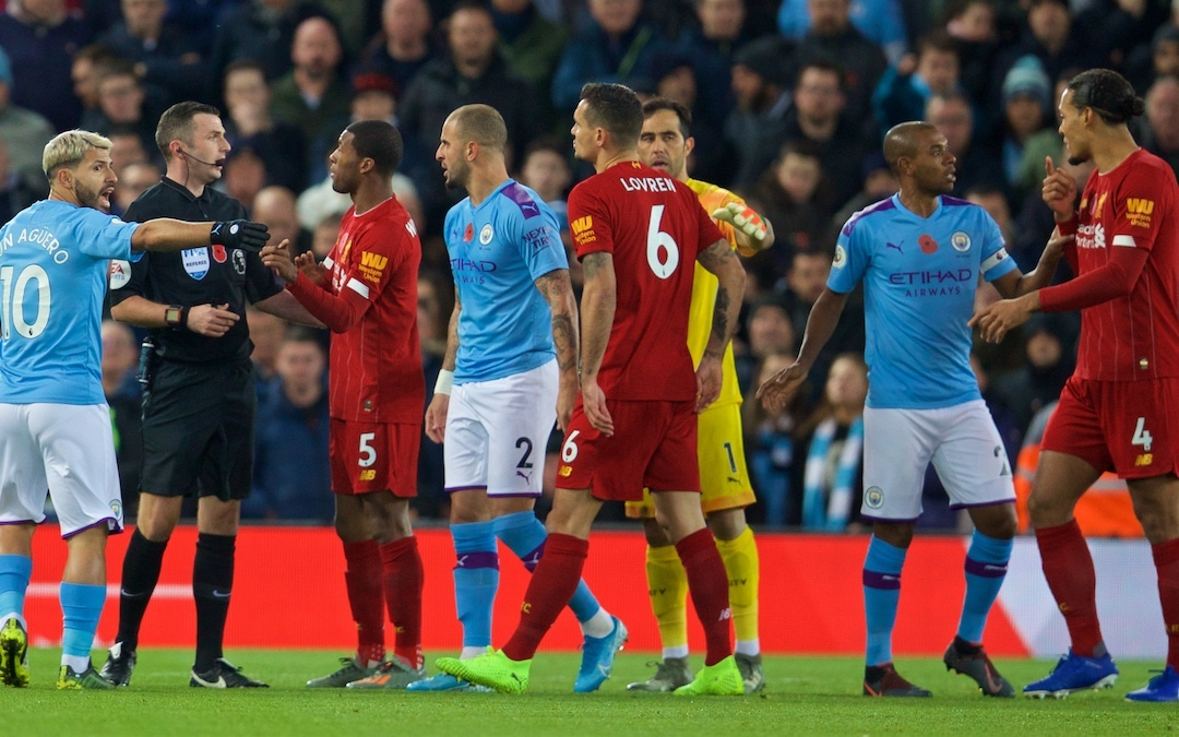LIVERPOOL, ENGLAND - Sunday, November 10, 2019: Manchester City's Sergio Agüero complains to referee Michael Oliver after Liverpool's opening goal during the FA Premier League match between Liverpool FC and Manchester City FC at Anfield. Liverpool won 3-1. (Pic by David Rawcliffe/Propaganda)