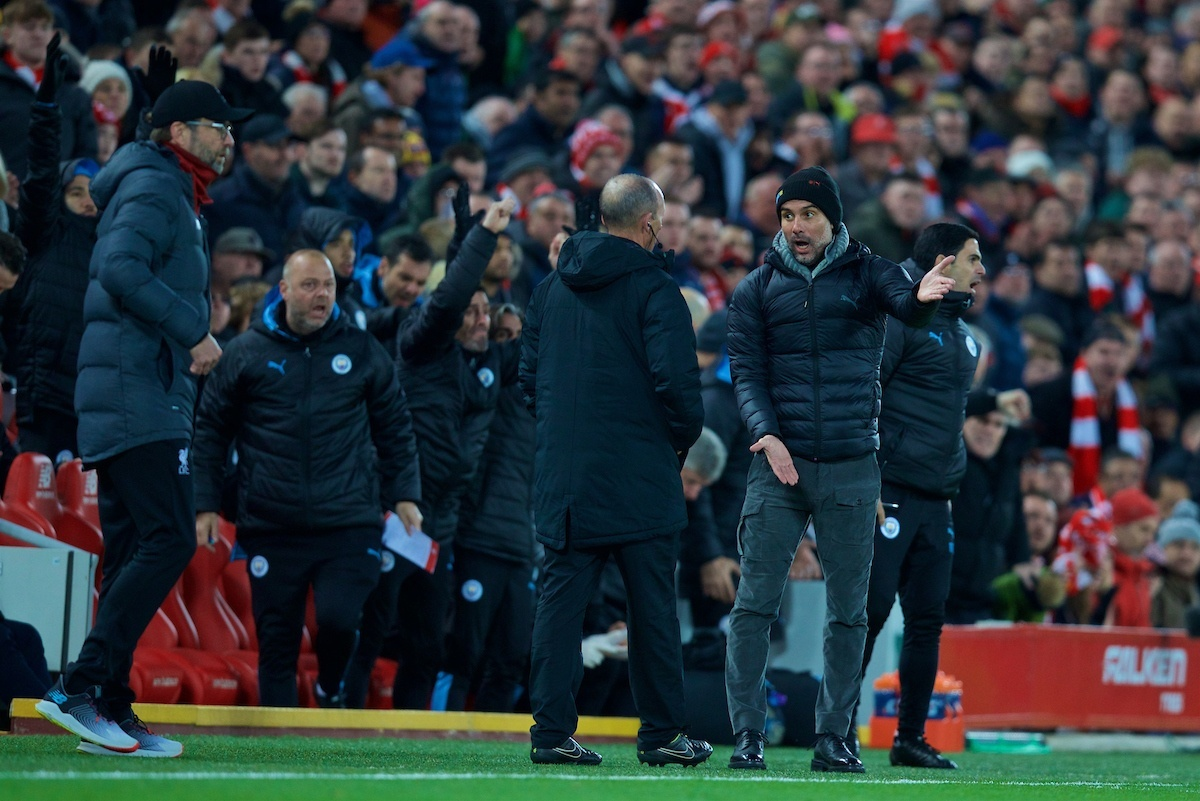 LIVERPOOL, ENGLAND - Sunday, November 10, 2019: Manchester City's head coach Pep Guardiola complains after Liverpool's opening goal during the FA Premier League match between Liverpool FC and Manchester City FC at Anfield. (Pic by David Rawcliffe/Propaganda)