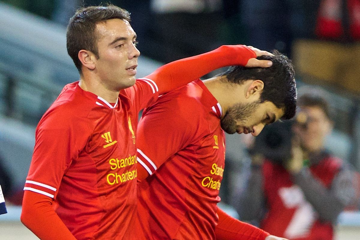 MELBOURNE, AUSTRALIA - Wednesday, July 24, 2013: Liverpool's Iago Aspas celebrates scoring the second goal against with creator Luis Suarez against Melbourne Victory during a preseason friendly match at the Melbourne Cricket Ground. (Pic by David Rawcliffe/Propaganda)