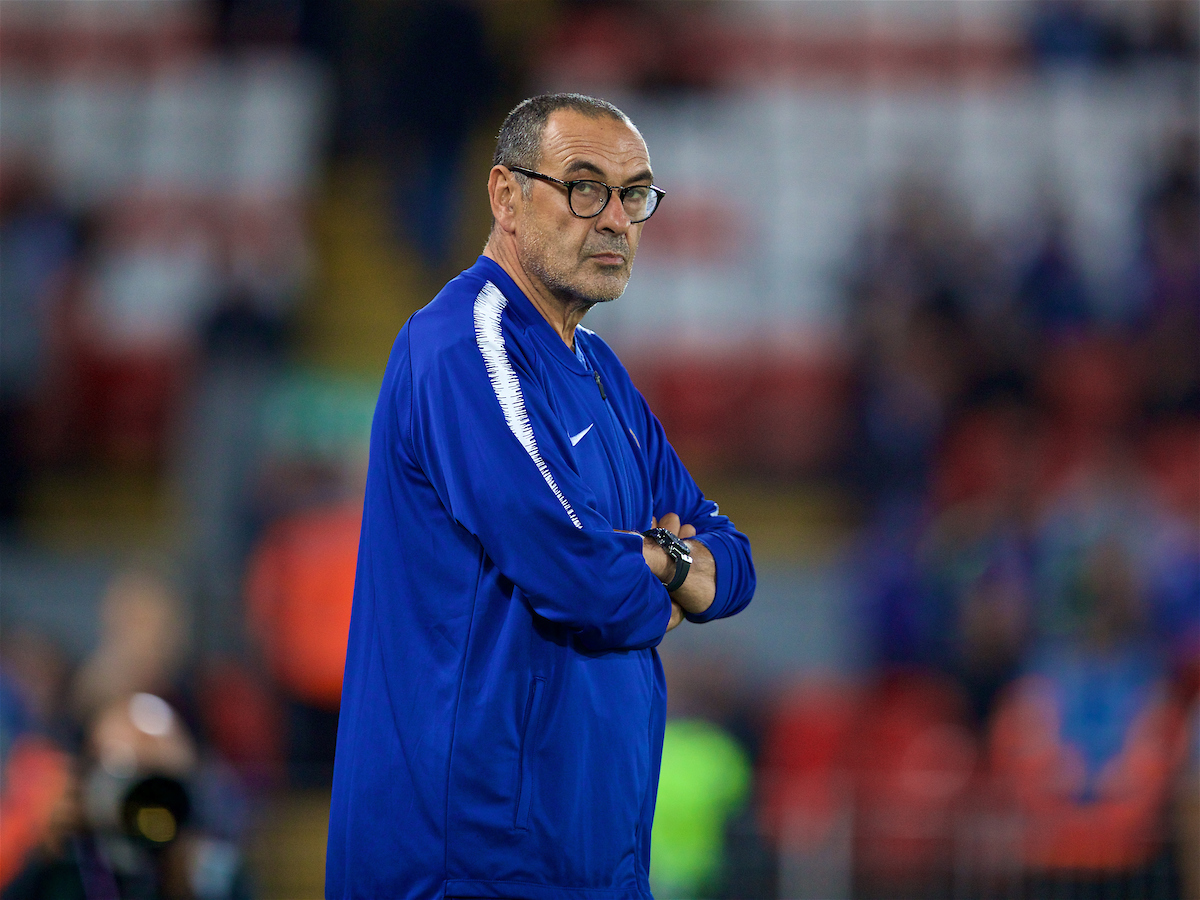 LIVERPOOL, ENGLAND - Wednesday, September 26, 2018: Chelsea's manager Maurizio Sarri during the pre-match warm-up before the Football League Cup 3rd Round match between Liverpool FC and Chelsea FC at Anfield. (Pic by David Rawcliffe/Propaganda)