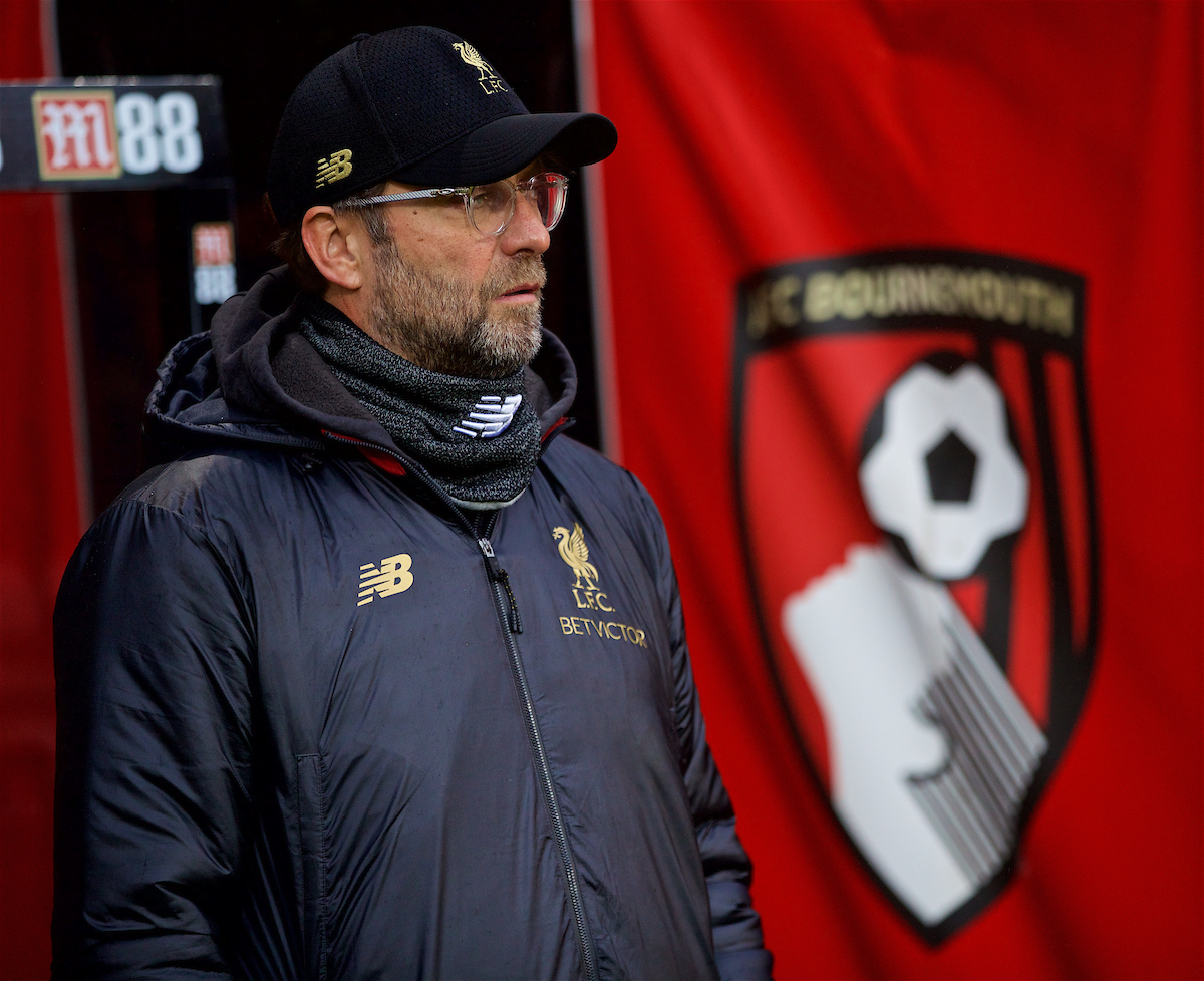BOURNEMOUTH, ENGLAND - Saturday, December 8, 2018: Liverpool's manager Jürgen Klopp before the FA Premier League match between AFC Bournemouth and Liverpool FC at the Vitality Stadium. (Pic by David Rawcliffe/Propaganda)