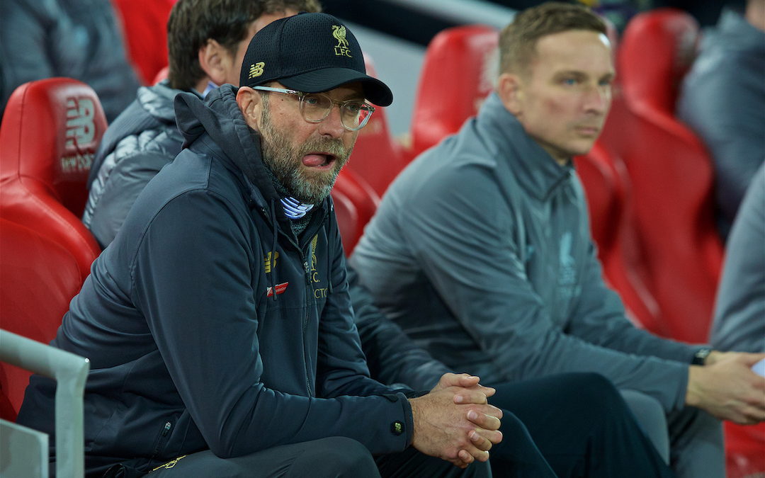 LIVERPOOL, ENGLAND - Wednesday, February 27, 2019: Liverpool's manager Jürgen Klopp and first-team development coach Pepijn Lijnders (R) on the bench before the FA Premier League match between Liverpool FC and Watford FC at Anfield. (Pic by Paul Greenwood/Propaganda)