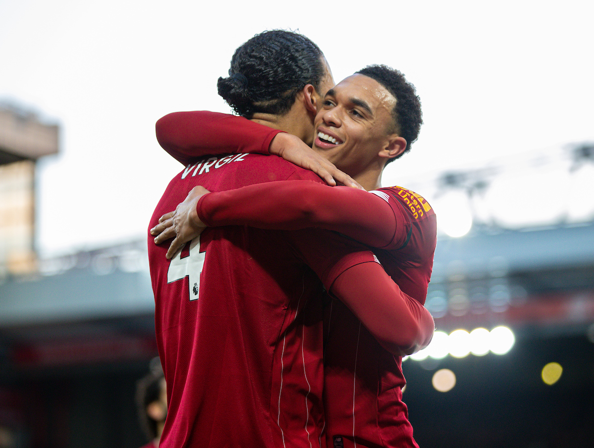 LIVERPOOL, ENGLAND - Saturday, November 30, 2019: Liverpool's Virgil van Dijk (L) celebrates scoring the second goal, his second of the game, with team-mate Trent Alexander-Arnold during the FA Premier League match between Liverpool FC and Brighton & Hove Albion FC at Anfield. Liverpool won 2-1. (Pic by David Rawcliffe/Propaganda)