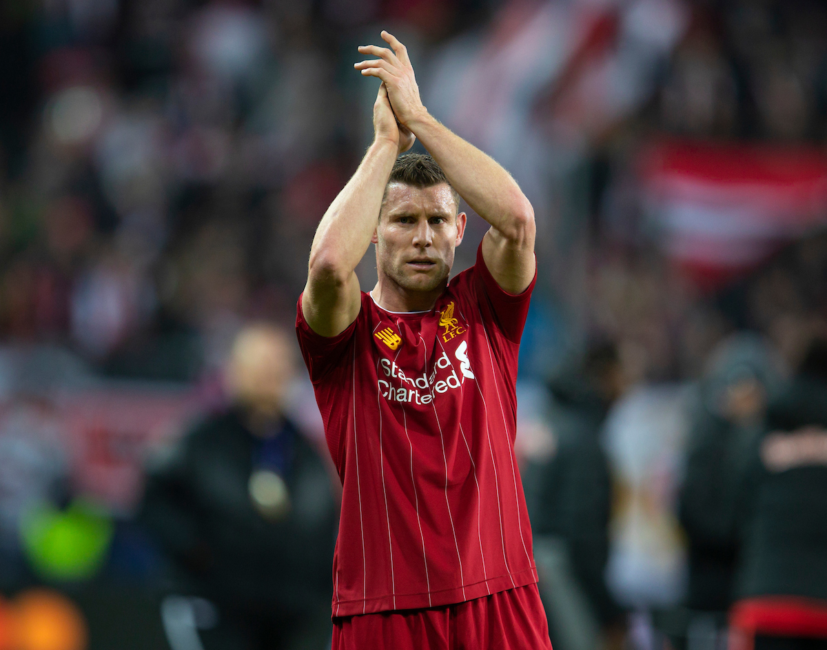 SALZBURG, AUSTRIA - Tuesday, December 10, 2019: Liverpool's James Milner applauds the supporters after the final UEFA Champions League Group E match between FC Salzburg and Liverpool FC at the Red Bull Arena. Liverpool won 2-0. (Pic by David Rawcliffe/Propaganda)