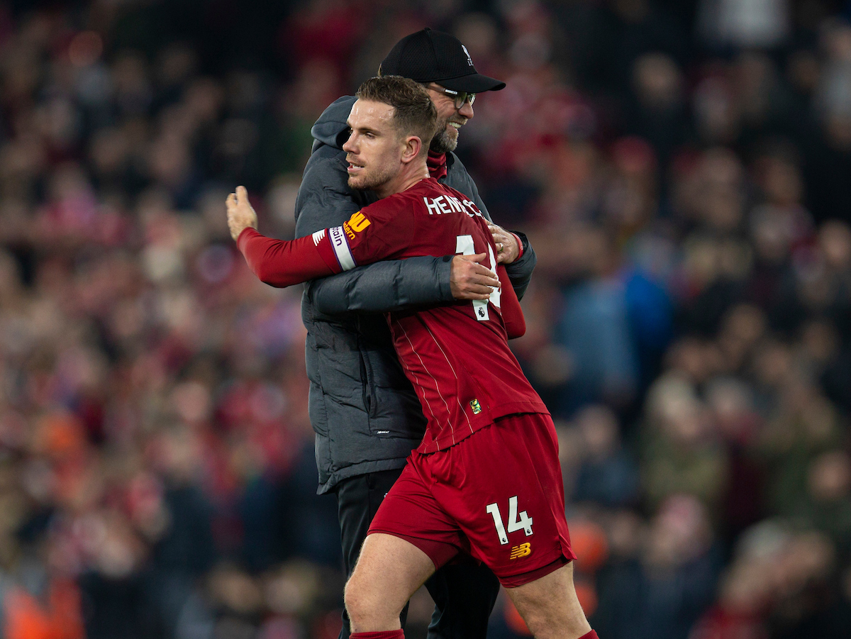LIVERPOOL, ENGLAND - Sunday, December 29, 2019: Liverpool's manager Jürgen Klopp celebrates with captain Jordan Henderson after the FA Premier League match between Liverpool FC and Wolverhampton Wanderers FC at Anfield. Liverpool won 1-0. (Pic by David Rawcliffe/Propaganda)