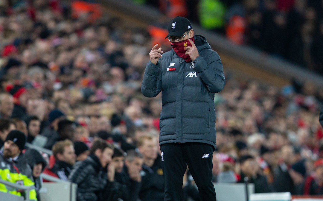 LIVERPOOL, ENGLAND - Sunday, December 29, 2019: Liverpool's manager Jürgen Klopp during the FA Premier League match between Liverpool FC and Wolverhampton Wanderers FC at Anfield. (Pic by David Rawcliffe/Propaganda)