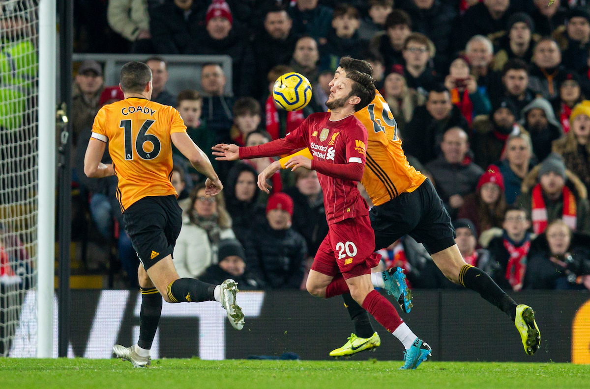 LIVERPOOL, ENGLAND - Sunday, December 29, 2019: Liverpool's Adam Lallana controls the ball before his side's opening goal during the FA Premier League match between Liverpool FC and Wolverhampton Wanderers FC at Anfield. (Pic by Richard Roberts/Propaganda)