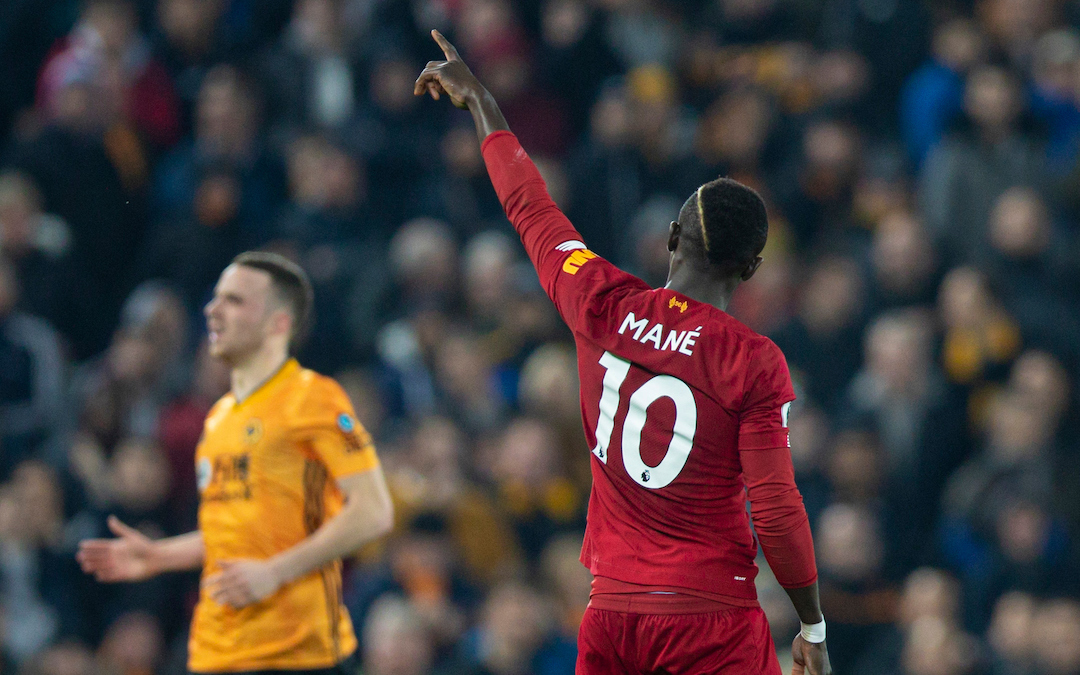 LIVERPOOL, ENGLAND - Sunday, December 29, 2019: Liverpool's Sadio Mané celebrates scoring the first goal during the FA Premier League match between Liverpool FC and Wolverhampton Wanderers FC at Anfield. (Pic by Richard Roberts/Propaganda)