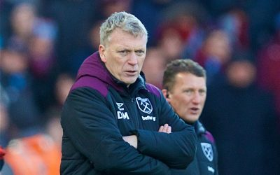 Saturday, February 24, 2018: West Ham United's manager David Moyes during the FA Premier League match between Liverpool FC and West Ham United FC at Anfield.