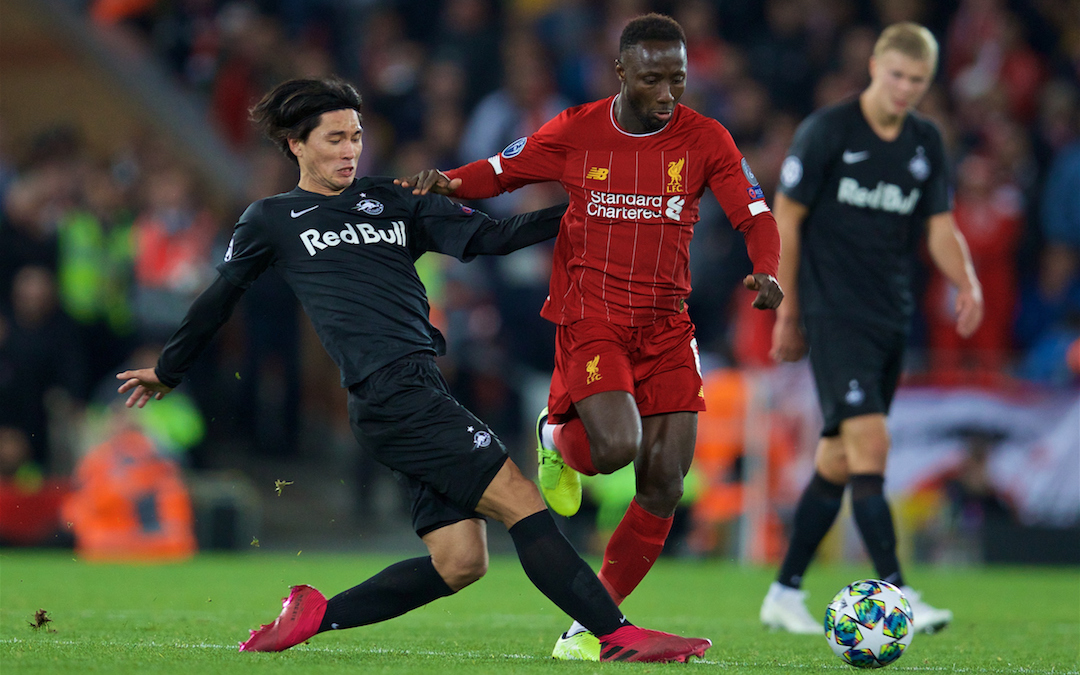 LIVERPOOL, ENGLAND - Wednesday, October 2, 2019: FC Salzburg's Takumi Minamino challenges Liverpool's Naby Keita (R) during the UEFA Champions League Group E match between Liverpool FC and FC Salzburg at Anfield. (Pic by David Rawcliffe/Propaganda)