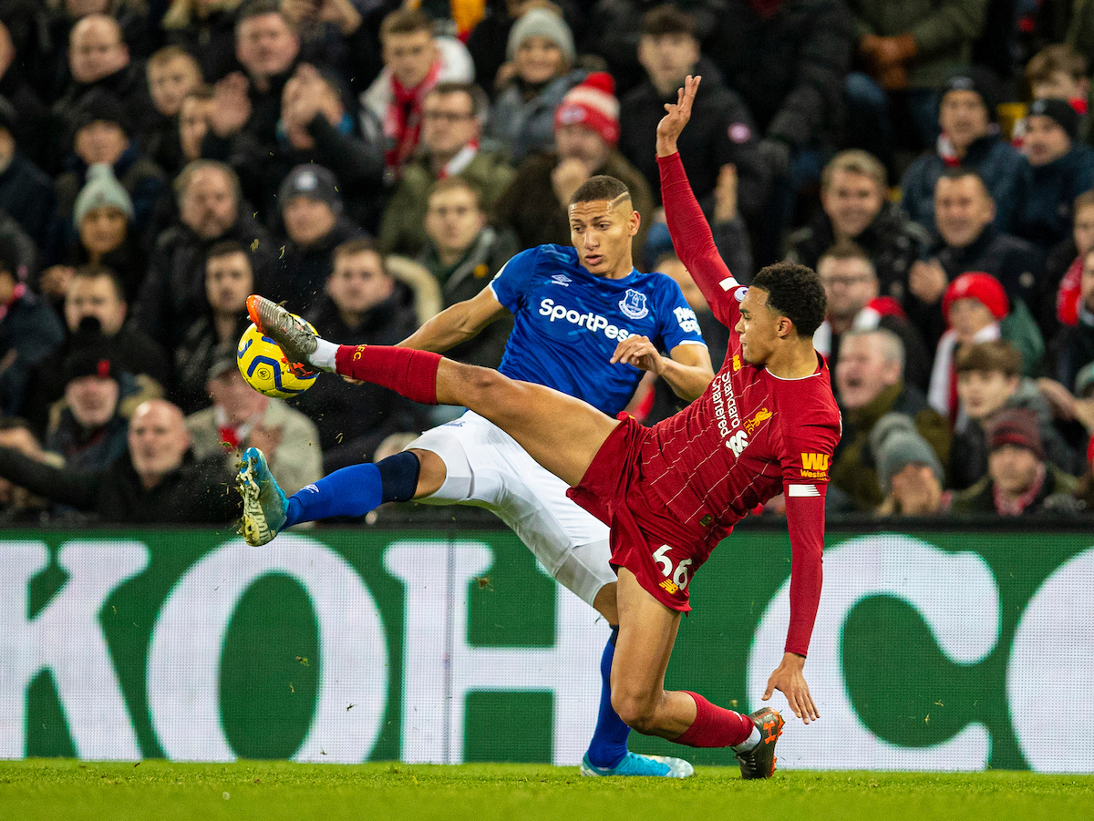 LIVERPOOL, ENGLAND - Wednesday, December 4, 2019: Liverpool's Trent Alexander-Arnold (R) challenges Everton's Richarlison de Andrade during the FA Premier League match between Liverpool FC and Everton FC, the 234th Merseyside Derby, at Anfield. (Pic by David Rawcliffe/Propaganda)