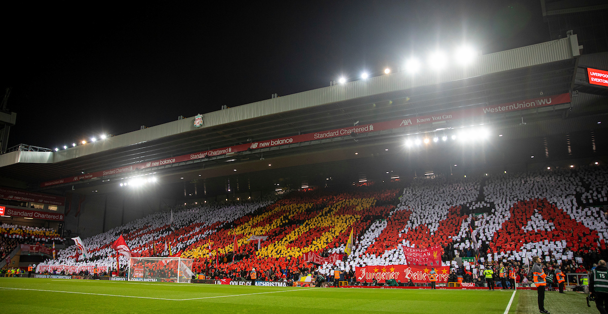LIVERPOOL, ENGLAND - Wednesday, December 4, 2019: Liverpool supporters mosaic tribute to the 96 victims of the Hillsborough Stadium Disaster before the FA Premier League match between Liverpool FC and Everton FC, the 234th Merseyside Derby, at Anfield. (Pic by David Rawcliffe/Propaganda)
