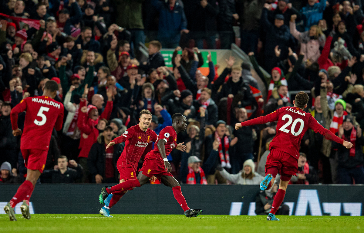 LIVERPOOL, ENGLAND - Wednesday, December 4, 2019: Liverpool's Sadio Mané celebrates scoring the fourth goal during the FA Premier League match between Liverpool FC and Everton FC, the 234th Merseyside Derby, at Anfield. (Pic by David Rawcliffe/Propaganda)