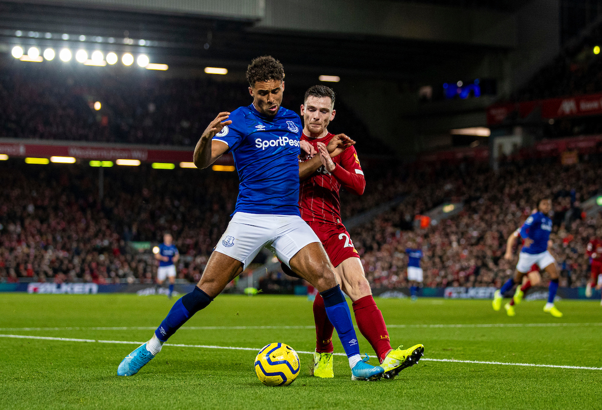 LIVERPOOL, ENGLAND - Wednesday, December 4, 2019: Everton's Dominic Calvert-Lewin (L) and Liverpool's Andy Robertson (R) during the FA Premier League match between Liverpool FC and Everton FC, the 234th Merseyside Derby, at Anfield. (Pic by David Rawcliffe/Propaganda)