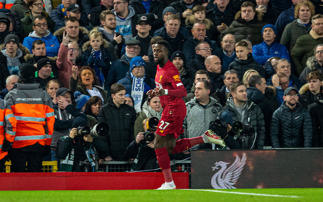 LIVERPOOL, ENGLAND - Wednesday, December 4, 2019: Liverpools Divock Origi celebrates scoring the first goal during the FA Premier League match between Liverpool FC and Everton FC, the 234th Merseyside Derby, at Anfield. (Pic by David Rawcliffe/Propaganda)