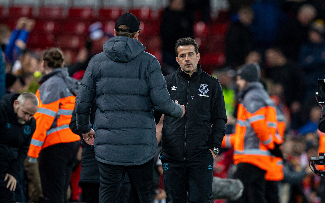 LIVERPOOL, ENGLAND - Wednesday, December 4, 2019: A dejected Everton's manager Marco Silva goes to shake hands with Liverpool's manager Jürgen Klopp during the FA Premier League match between Liverpool FC and Everton FC, the 234th Merseyside Derby, at Anfield. Liverpool won 5-2. (Pic by David Rawcliffe/Propaganda)
