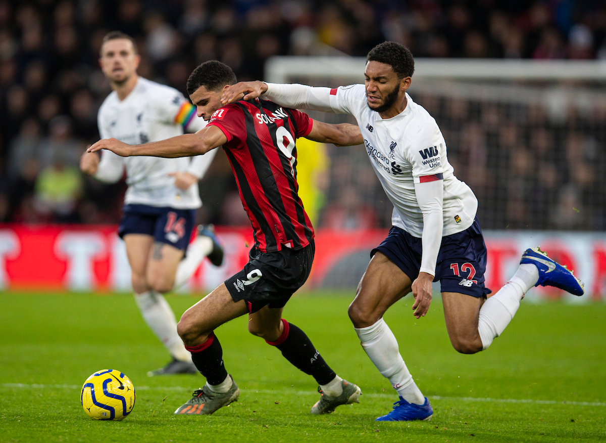 BOURNEMOUTH, ENGLAND - Saturday, December 7, 2019: Liverpool's Joe Gomez (L) tackles AFC Bournemouth's Dominic Solanke during the FA Premier League match between AFC Bournemouth and Liverpool FC at the Vitality Stadium. (Pic by David Rawcliffe/Propaganda)