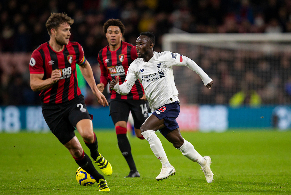BOURNEMOUTH, ENGLAND - Saturday, December 7, 2019: Liverpool's Naby Keita during the FA Premier League match between AFC Bournemouth and Liverpool FC at the Vitality Stadium. (Pic by David Rawcliffe/Propaganda)