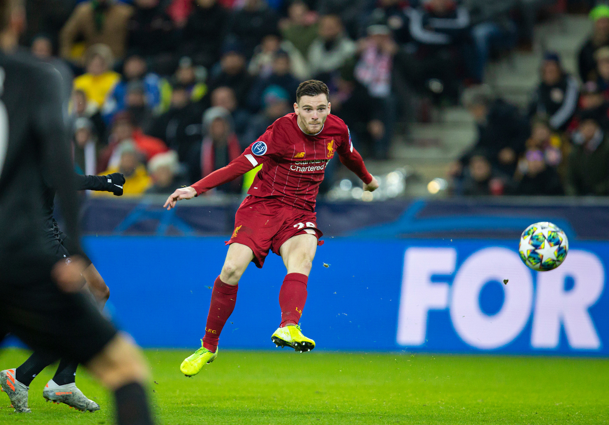 SALZBURG, AUSTRIA - Tuesday, December 10, 2019: Liverpool's Andy Robertson shoots during the final UEFA Champions League Group E match between FC Salzburg and Liverpool FC at the Red Bull Arena. (Pic by David Rawcliffe/Propaganda)