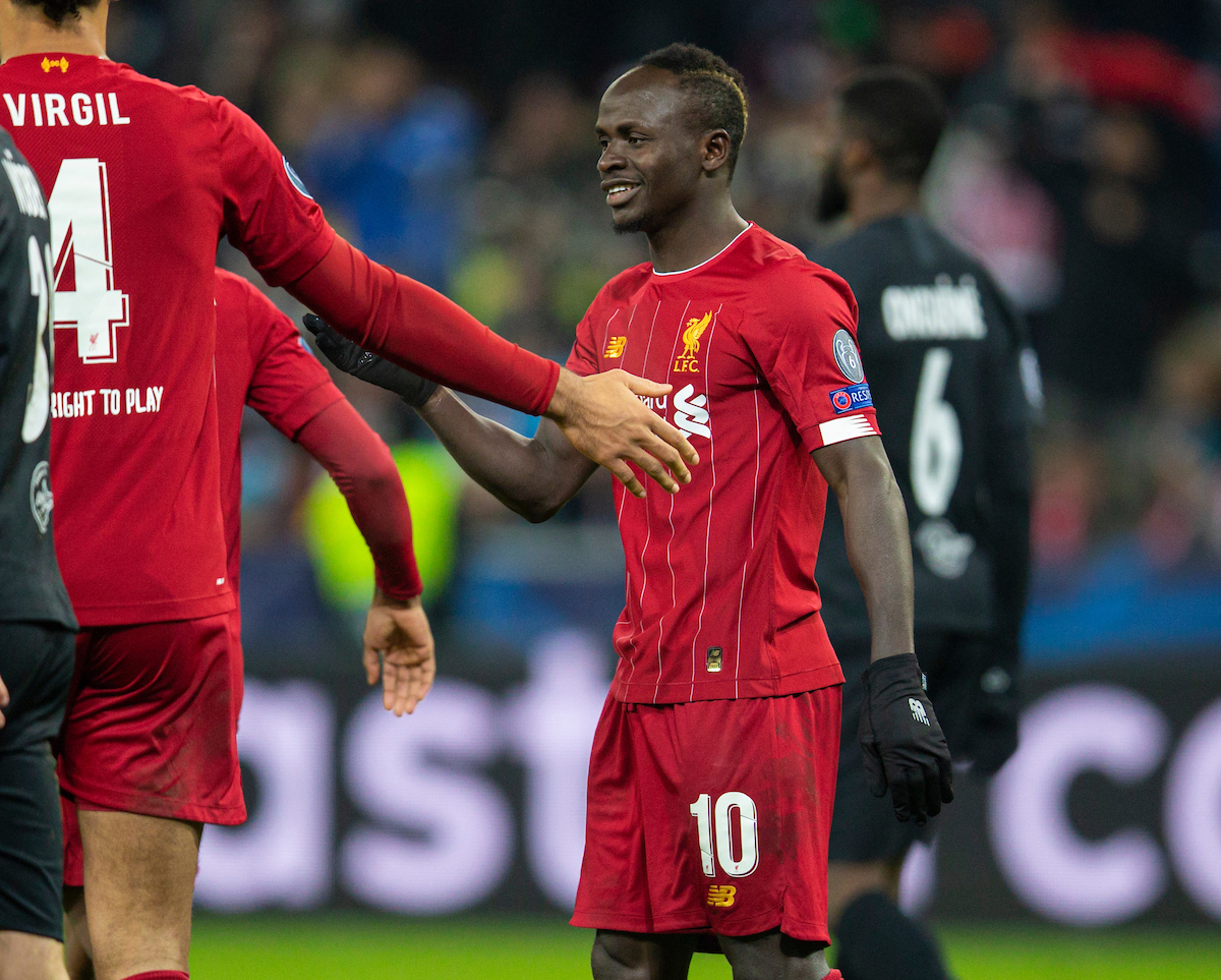 SALZBURG, AUSTRIA - Tuesday, December 10, 2019: Liverpool's Sadio Mané celebrates scoring the first goal during the final UEFA Champions League Group E match between FC Salzburg and Liverpool FC at the Red Bull Arena. (Pic by David Rawcliffe/Propaganda)