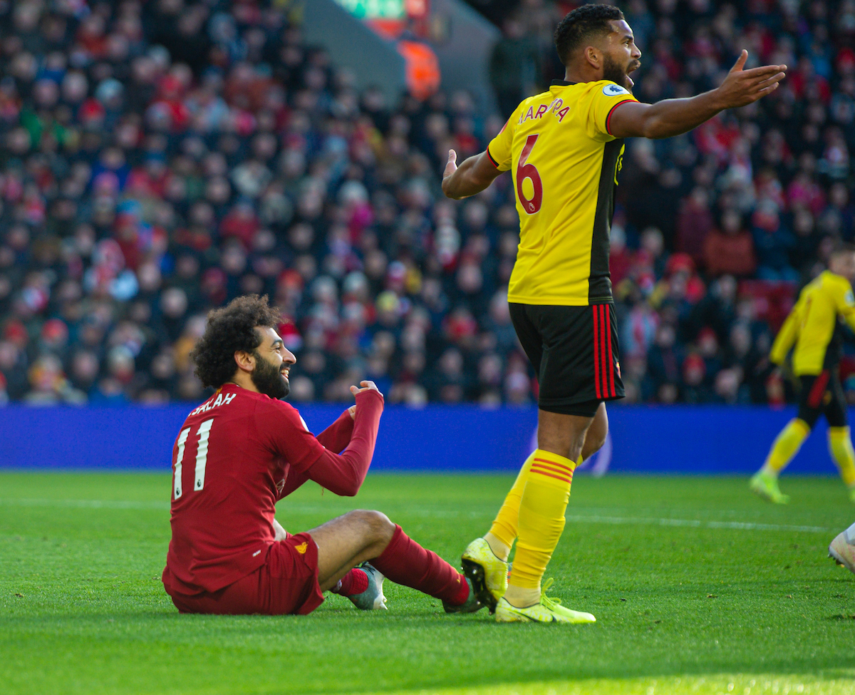 LIVERPOOL, ENGLAND - Saturday, December 14, 2019: Liverpool's Mohamed Salah appelas for a penalty during the FA Premier League match between Liverpool FC and Watford FC at Anfield. (Pic by Richard Roberts/Propaganda)