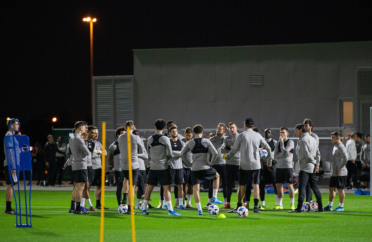 DOHA, QATAR - Monday, December 16, 2019: Liverpool's manager Jürgen Klopp speaks to his players during a training session ahead of the FIFA Club World Cup Semi-Final match between CF Monterrey and Liverpool FC at the Qatar University. (Pic by David Rawcliffe/Propaganda)