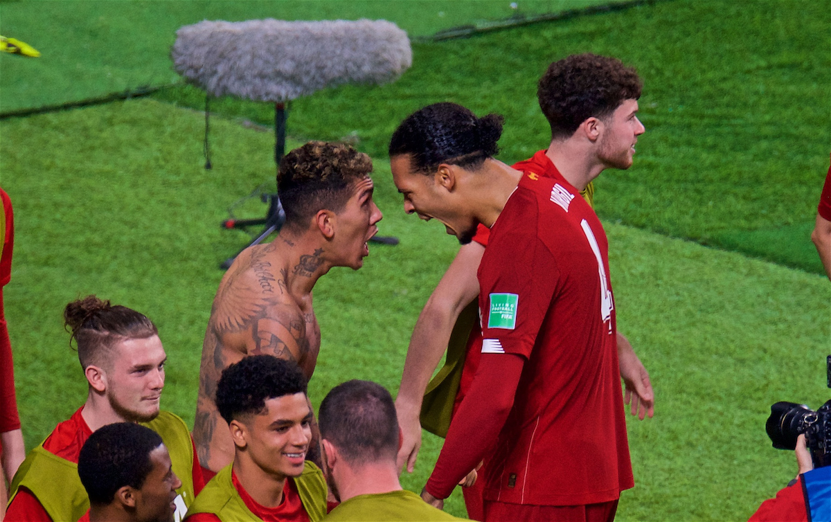 DOHA, QATAR - Saturday, December 21, 2019: Liverpool's Roberto Firmino (L) celebrates scoring the first goal with team-mate Virgil van Dijk during the FIFA Club World Cup Qatar 2019 Final match between CR Flamengo and Liverpool FC at the Khalifa Stadium. (Pic by Peter Powell/Propaganda)
