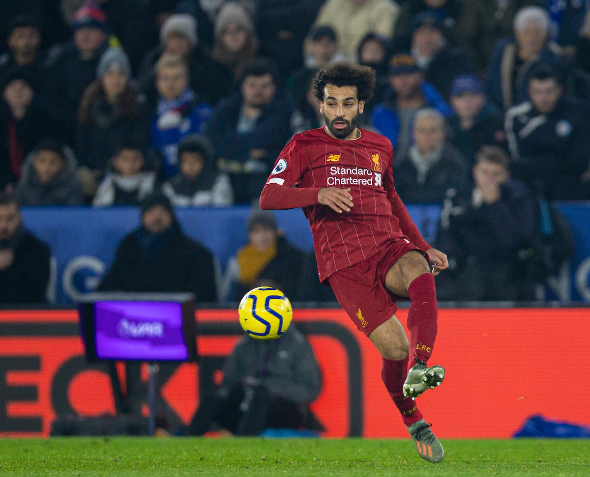 LEICESTER, ENGLAND - Thursday, December 26, 2019: Liverpool's Mohamed Salah during the FA Premier League match between Leicester City FC and Liverpool FC at the King Power Stadium. (Pic by David Rawcliffe/Propaganda)
