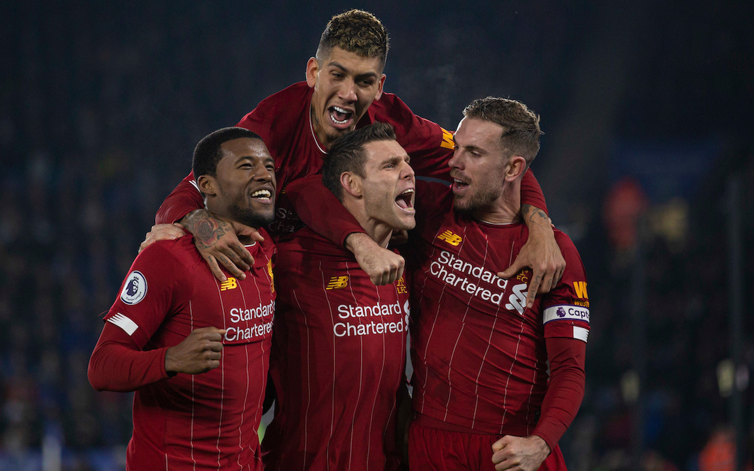 LEICESTER, ENGLAND - Thursday, December 26, 2019: Liverpool's James Milner (C) celebrates scoring the second goal, from a penalty kick, with team-mate Georginio Wijnaldum (L), captain Jordan Henderson (R) and Roberto Firmino (top) during the FA Premier League match between Leicester City FC and Liverpool FC at the King Power Stadium. (Pic by David Rawcliffe/Propaganda)