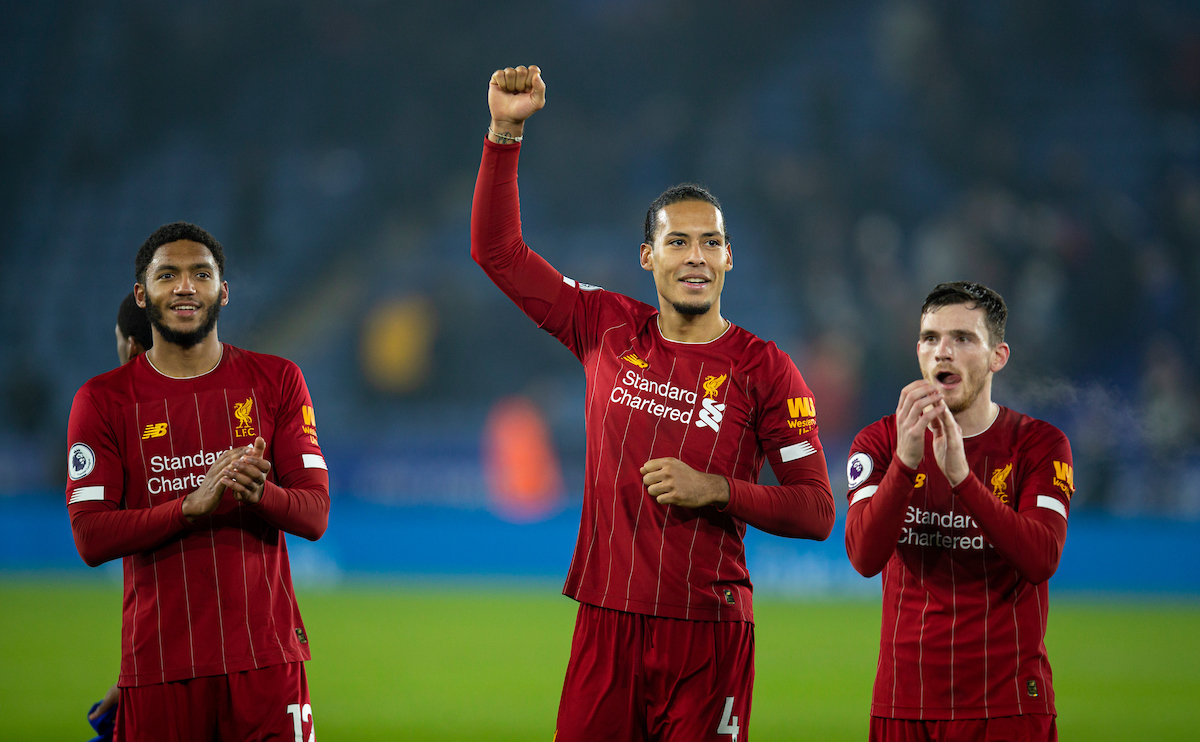 LEICESTER, ENGLAND - Thursday, December 26, 2019: Liverpool's (L-R) Joe Gomez, Virgil van Dijk and Andy Robertson celebrate after the FA Premier League match between Leicester City FC and Liverpool FC at the King Power Stadium. Liverpool won 4-0. (Pic by David Rawcliffe/Propaganda)