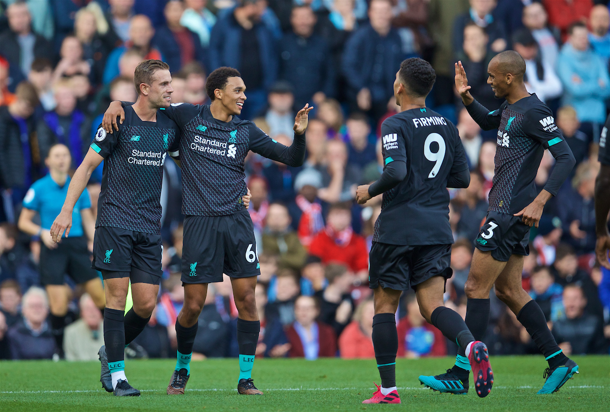BURNLEY, ENGLAND - Saturday, August 31, 2019: Liverpool's Trent Alexander-Arnold celebrates the first goal with team-mates captain Jordan Henderson, Fabio Henrique Tavares 'Fabinho' and Roberto Firmino during the FA Premier League match between Burnley FC and Liverpool FC at Turf Moor. (Pic by David Rawcliffe/Propaganda)