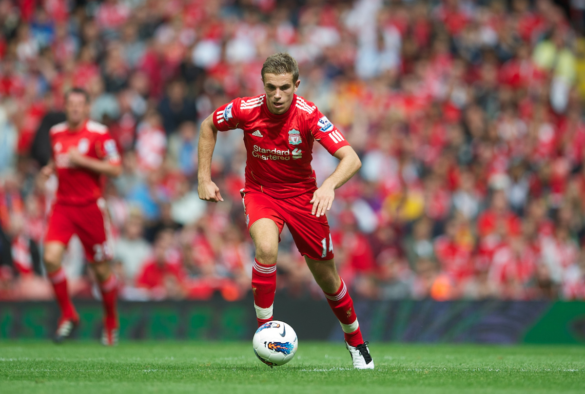 LIVERPOOL, ENGLAND - Saturday, August 13, 2011: Liverpool's Jordan Henderson in action against Sunderland during the Premiership match at Anfield. (Pic by David Rawcliffe/Propaganda)
