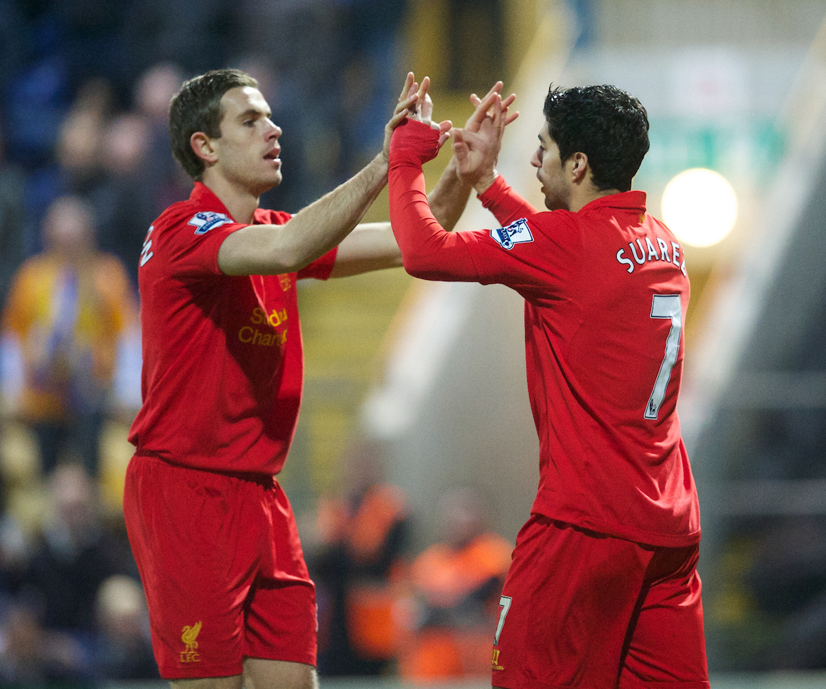 MANSFIELD, ENGLAND - Sunday, January 6, 2013: Liverpool's Luis Alberto Suarez Diaz celebrates scoring the second goal against Mansfield Town with Jordan Henderson during the FA Cup 3rd Round match at Field Mill. (Pic by David Rawcliffe/Propaganda)
