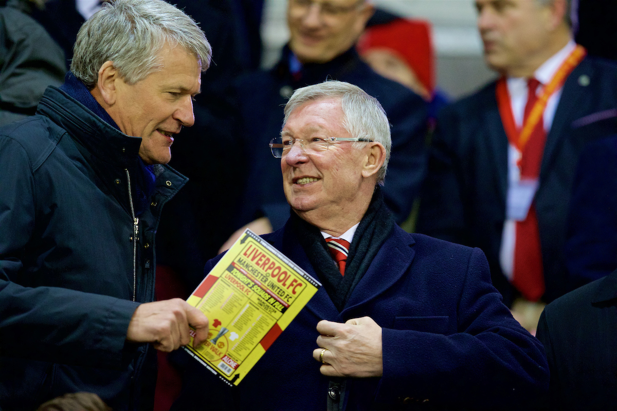 LIVERPOOL, ENGLAND - Thursday, March 10, 2016: Former Manchester United manager Alex Ferguson during the UEFA Europa League Round of 16 1st Leg match against Liverpool at Anfield. (Pic by David Rawcliffe/Propaganda)