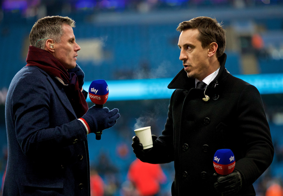 MANCHESTER, ENGLAND - Thursday, January 3, 2019: Former Liverpool player Jamie Carragher (L) and former Manchester United player Gary Neville working for Sky Sports before the FA Premier League match between Manchester City FC and Liverpool FC at the Etihad Stadium. (Pic by David Rawcliffe/Propaganda)
