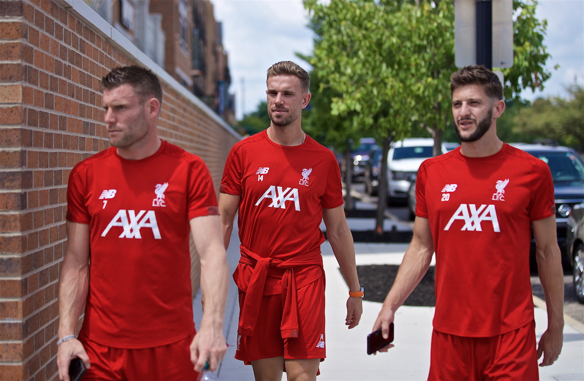 SOUTH BEND, INDIANA, USA - Wednesday, July 17, 2019: Liverpool's James Milner, captain Jordan Henderson and Adam Lallana take a walk on day two of the club's pre-season tour of America. (Pic by David Rawcliffe/Propaganda)
