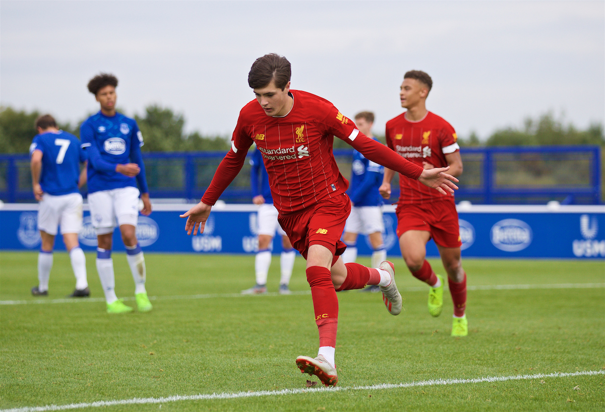 LIVERPOOL, ENGLAND - Saturday, October 5, 2019: Liverpool's Layton Stewart celebrates after scoring the second goal from a penalty kick during the Under-18 FA Premier League match between Everton FC and Liverpool FC at Finch Farm. (Pic by David Rawcliffe/Propaganda)