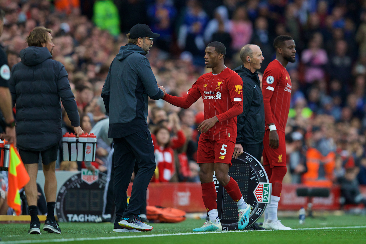 LIVERPOOL, ENGLAND - Saturday, October 5, 2019: Liverpool's Georginio Wijnaldum shakes hands with manager Jürgen Klopp after being substituted during the FA Premier League match between Liverpool FC and Leicester City FC at Anfield. (Pic by David Rawcliffe/Propaganda)