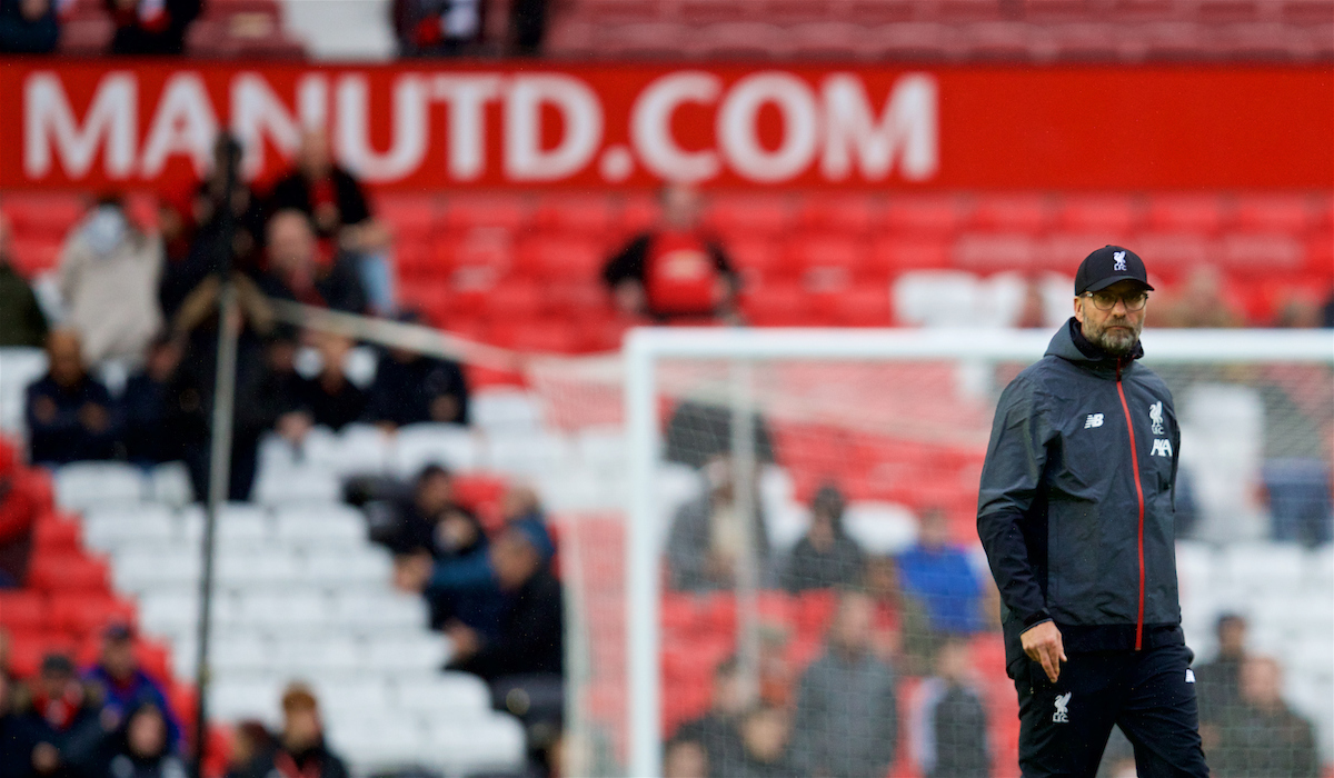 MANCHESTER, ENGLAND - Saturday, October 19, 2019: Liverpool's manager Jürgen Klopp during the pre-match warm-up before the FA Premier League match between Manchester United FC and Liverpool FC at Old Trafford. (Pic by David Rawcliffe/Propaganda)