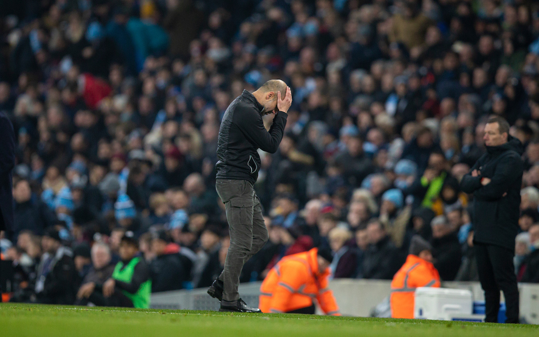 MANCHESTER, ENGLAND - Wednesday, January 1, 2020: Manchester City's manager Pep Guardiola reacts during the FA Premier League match between Manchester City FC and Everton FC at the City of Manchester Stadium. (Pic by David Rawcliffe/Propaganda)
