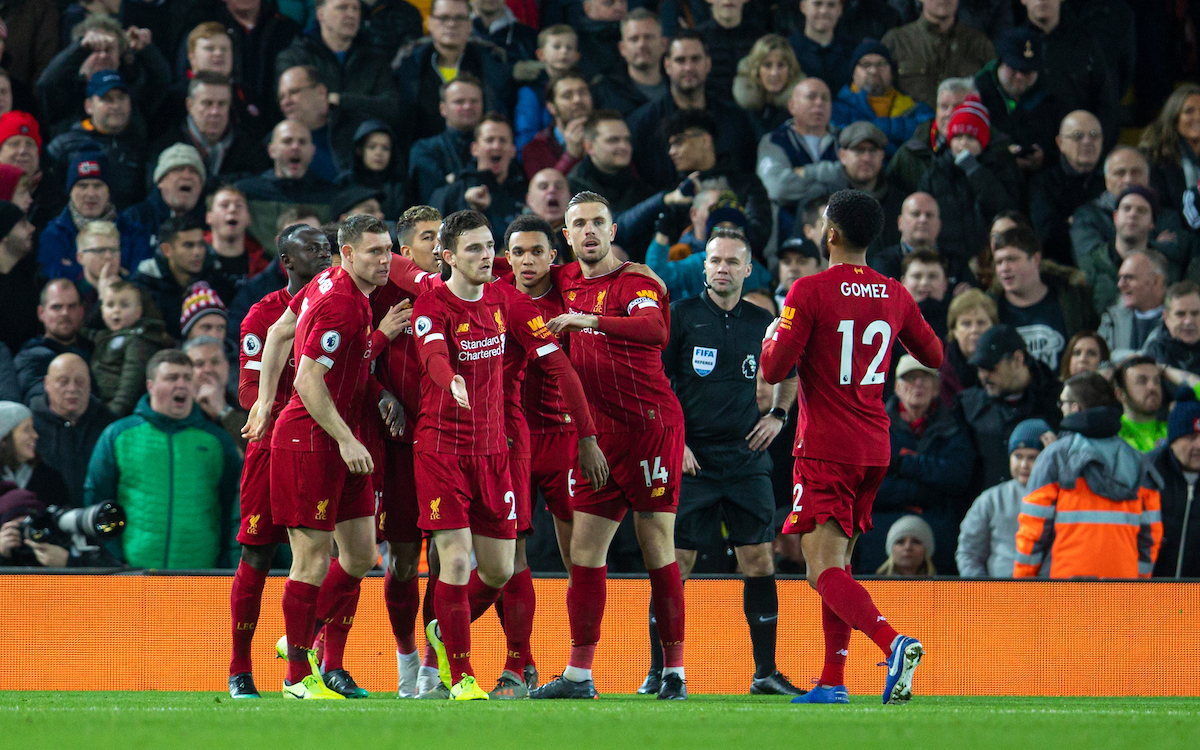 LIVERPOOL, ENGLAND - Thursday, January 2, 2020: Liverpool's Mohamed Salah (hidden) celebrates scoring the first goal with team-mates during the FA Premier League match between Liverpool FC and Sheffield United FC at Anfield. (Pic by David Rawcliffe/Propaganda)