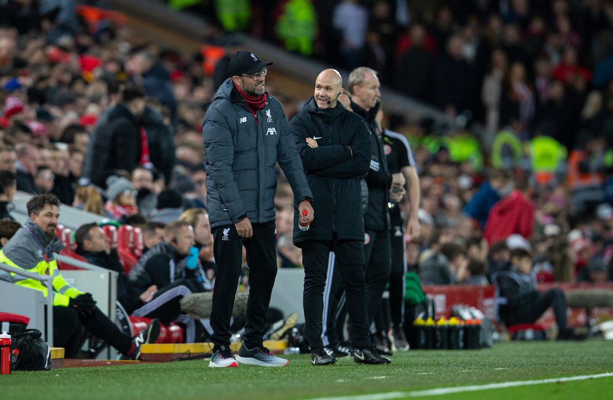 LIVERPOOL, ENGLAND - Thursday, January 2, 2020: Liverpool's manager Jürgen Klopp (L) and fourth official Anthony Taylor during the FA Premier League match between Liverpool FC and Sheffield United FC at Anfield. (Pic by David Rawcliffe/Propaganda)